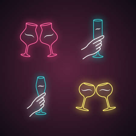 Wine service neon light icons set. Clinking wine glasses. Hands holding alcohol beverages. Celebration, party. Wedding. Glassware, winery. Cheers. Glowing signs. Vector isolated illustrations Vettoriali