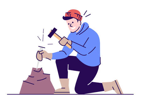 Man working with chisel and hammer flat vector illustration. Archeological excavations. Geological survey. Young caucasian researcher breaking stone cartoon character with outline on white background 일러스트