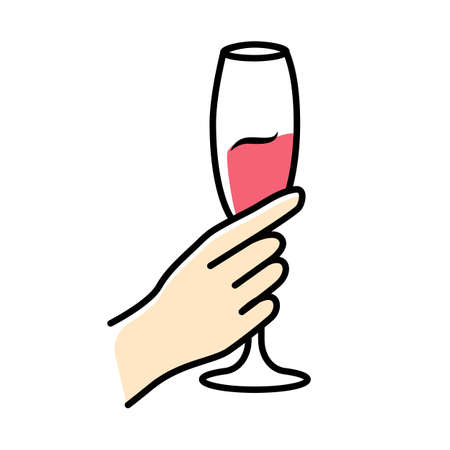 Hand holding glass of rose wine color icon. Champagne stemware. Glassful of alcohol beverage. Wine service. Celebration, party. Wedding. Tasting, degustation. Cheers. Isolated vector illustration Vettoriali