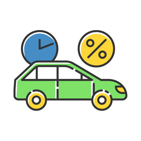 Car finance color icon. Take credit to buy auto. Loan money for purchasing vehicle. Borrow, loan money with percentage rate. Buying means of transportation. Rent auto. Isolated vector illustration
