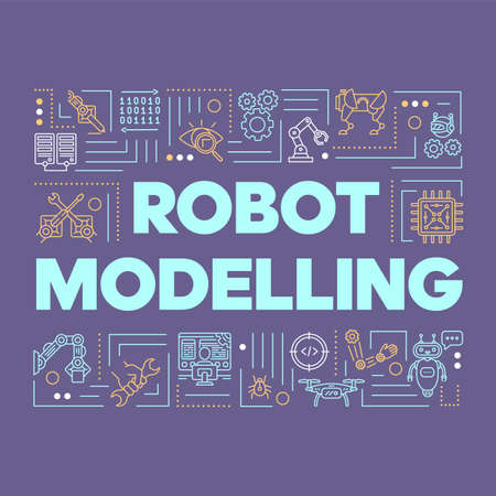 Robot modelling word concepts banner. Artificial intelligence, smart industry, electronics. Presentation, website. Isolated lettering typography idea with linear icons. Vector outline illustration