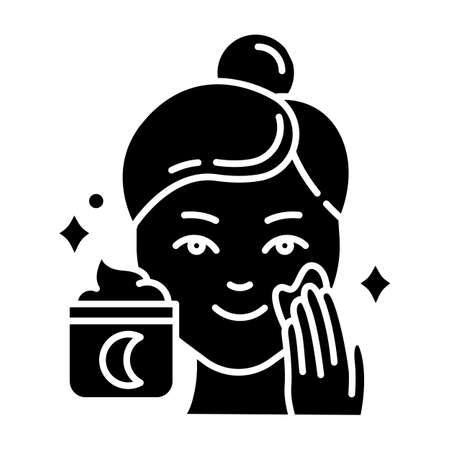 Applying night cream glyph icon. Skin care procedure. Facial treatment product. Sleeping cream for beauty routine. Cosmetics, makeup. Silhouette symbol. Negative space. Vector isolated illustration
