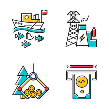 Ensemble d'icônes de couleur de types d'industrie. Pêche, énergie, bois, secteurs financiers de l'économie. Sphères d'affaires. Production de biens et services. Illustrations vectorielles isolées