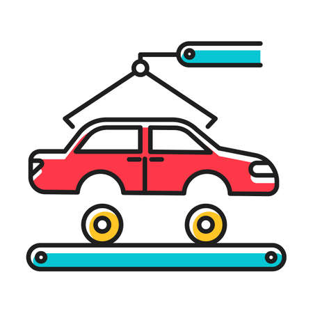 Automotive industry color icon. Car production. Vehicle factory. Automobile repair and fix services. Auto facility with crane and conveyor. Machinery, maintenance. Isolated vector illustration Illustration