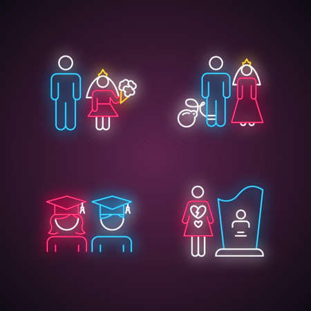 Gender equality neon light icons set. Child marriage. Education equality. Forced marriage. College graduate. Maternal mortality. Death, grieving. Glowing signs. Vector isolated illustrations Vektoros illusztráció