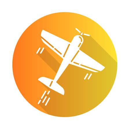 Aerobatics orange flat design long shadow glyph icon. Aerobatic maneuvers and stunt flying. Aviation, aircraft performance. Extreme airshow. Airplanes tricks. Vector silhouette illustration