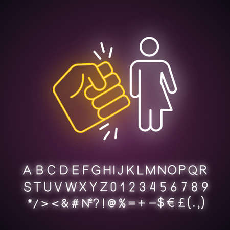 Violance against transwoman neon light icon. Transgender inequality. Harrassing trans girl. Intersex, transsexual. Glowing sign with alphabet, numbers and symbols. Vector isolated illustration