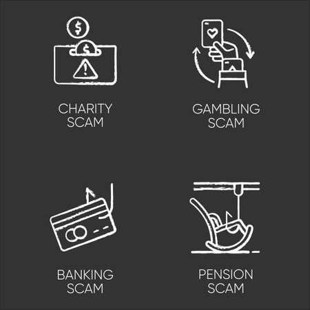 Scam types chalk icons set. Charity, pension fraudulent scheme. Gambling, banking trick. Cybercrime. Financial scamming. Illegal money gain. Isolated vector chalkboard illustrations Ilustrace