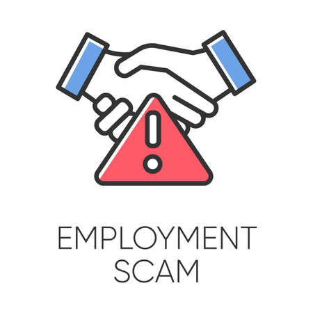 Employment scam color icon. Illegitimate vacancy. Fake recruitement offer. False job opportunity. Upfront payment. Financial fraud. Malicious practice. Fraudulent scheme. Isolated vector illustration Illustration