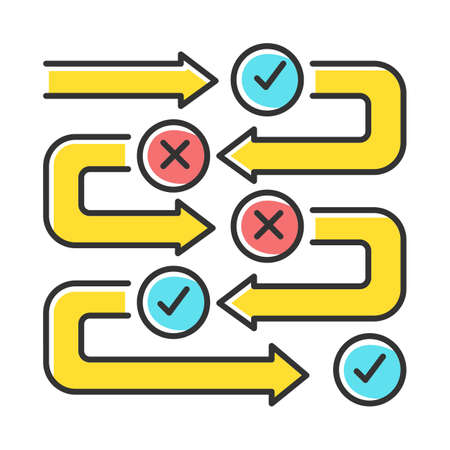Survey process color icon. Progress stages. Structure and workflow. Examination steps. Milestones. Correct and incorrect answers. Data flow. Info report and research. Isolated vector illustration Illustration