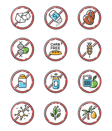 Product free ingredient color icons set. No paraben, pesticide, lactose. Organic food, healthy eating. Non-chemical herbs. Dietary without allergens and sweeteners. Isolated vector illustrations