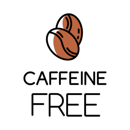 Caffeine free color icon. Decaffeinated drink. Product free ingredient. Nutritious dietary, healthy meals. Anxiety, insomnia prevention method. Personal healthcare. Isolated vector illustration
