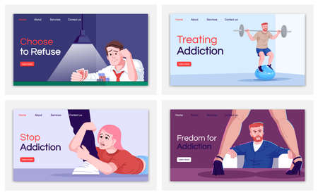 Addiction treatment landing page vector templates set. Choose to refuse website interface idea with flat illustrations. Stop addiction homepage layout. Web banner, webpage cartoon concept