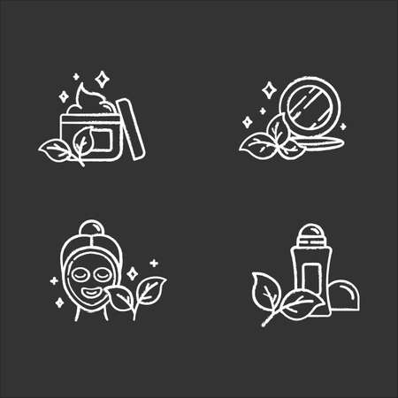 Organic cosmetics chalk icons set. Face cream. Pressed makeup powder. Facial mask. Deodorant, antiperspirant. Eco paraben free beauty products. Skincare. Isolated vector chalkboard illustrations