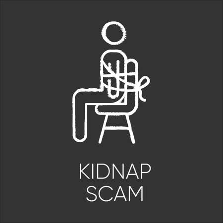 Kidnap scam chalk icon. Virtual kidnapping. Ransom money request. Blackmailing. Telephone extortion. Family emergency scam. Fraudulent scheme. Isolated vector chalkboard illustration