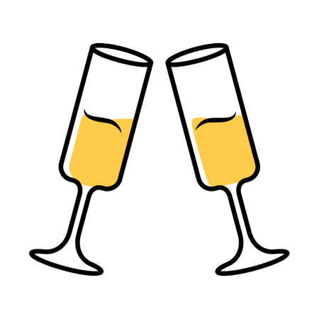 Two clinking glasses with champagne color icon. Sparkling wine. Glassfuls of alcohol beverage. Wine service. Celebration, party. Wedding. Tasting, degustation. Cheers. Isolated vector illustration