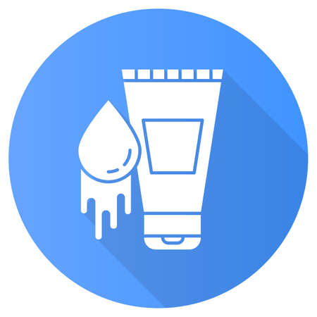 Water-based lubricant blue flat design long shadow glyph icon. Product for safe sex. Natural lube, gel. Healthy intercourse. Spermicide to prevent unintended pregnancy. Vector silhouette illustration