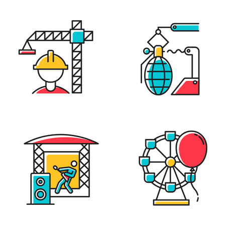 Industry types color icons set. Construction, arms, music, entertainment economy sectors. Goods and services production. Businesses activities. Isolated vector illustrations