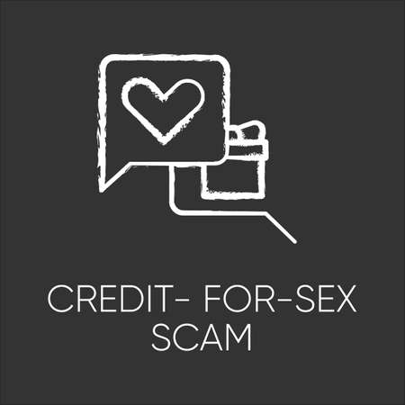 Credit-for-sex scam chalk icon. Sexual favours. Dating, hookup fraud. Internet, web love scam. Cyber extortion. Malicious practice. Fraudulent scheme. Isolated vector chalkboard illustration
