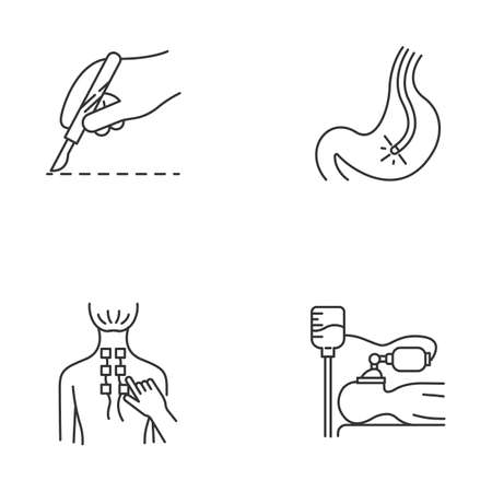 Medical procedure linear icons set. Surgery. Endoscopy and gastroscopy. Physiotherapy. Back pain relief. Anesthesia. Thin line contour symbols. Isolated vector outline illustrations. Editable stroke Illustration