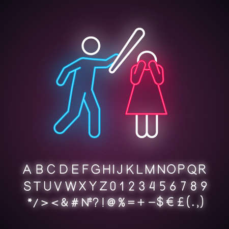 Violence against woman neon light icon. Female abuse, harassment, bullying. Couple toxic relationship. Glowing sign with alphabet, numbers and symbols. Vector isolated illustration