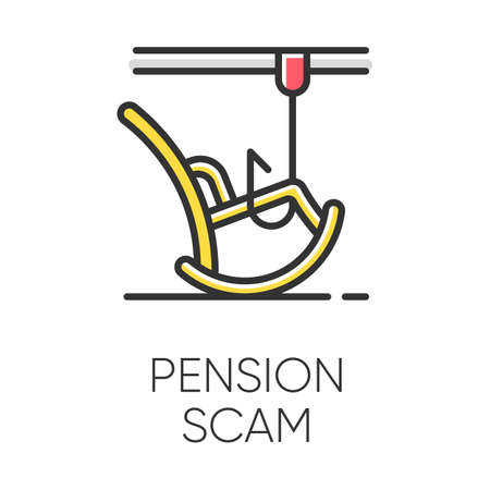 Pension scam color icon. Retirement savings theft. Fake annuity investment offer. Crime against elderly. Cold calling. Phishing. Financial scamming. Fraudulent scheme. Isolated vector illustration