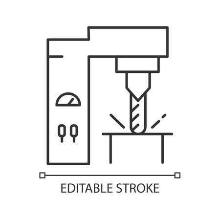 Steel industry linear icon. Metal and iron production technology. Metallurgy. Factory equipment. Engineering. Thin line illustration. Contour symbol. Vector isolated outline drawing. Editable stroke Ilustração