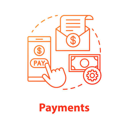 Payments concept icon. Pay online idea thin line illustration. E billing. Financial management app. Expenses tracker application. Internet banking transaction. Vector isolated outline drawing Ilustração