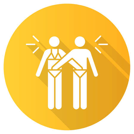 Mutual masturbation yellow flat design long shadow glyph icon. Couple sexual acitvity. Man and woman, girlfriend and boyfriend. Intimate relationship. Safe sex. Vector silhouette illustration