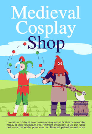 Medieval cosplay shop brochure template. Middle Age costumes store flyer, booklet, leaflet concept with flat illustrations. Vector page layout for magazine. Advertising invitation with text space