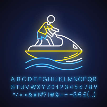 Jetskiing neon light icon. Summer activity. Jet ski riding. Man on water scooter. Watersports, extreme kind of sport. Glowing sign with alphabet, numbers and symbols. Vector isolated illustration