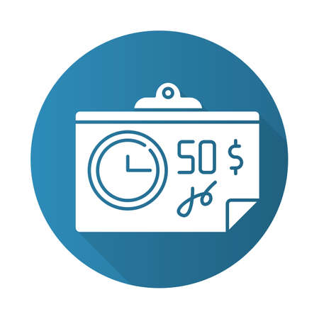 Paying for credit blue flat design long shadow glyph icon. Repaying loan mothly. Bill, tax, receipt with price. Investment, budget planning. Financial report. Economy. Vector silhouette illustration