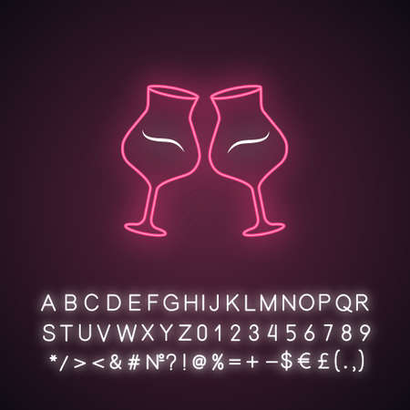 Two clinking wine glasses pink neon light icon. Glassfuls of alcohol beverage. Wine service. Celebration. Wedding. Cheers. Glowing sign with alphabet, numbers and symbols. Vector isolated illustration Vettoriali