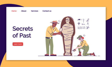 Secrets of past landing page vector template. Study of tomb of pharaoh website interface idea with flat illustrations. Expedition to Egypt homepage layout. Web banner, webpage cartoon concept