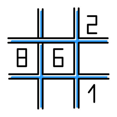 Sudoku puzzle color icon. Number-placement game. Mental exercise. Ingenuity, knowledge, intelligence test. Brain teaser. Problem solving. Solution finding. Isolated vector illustration
