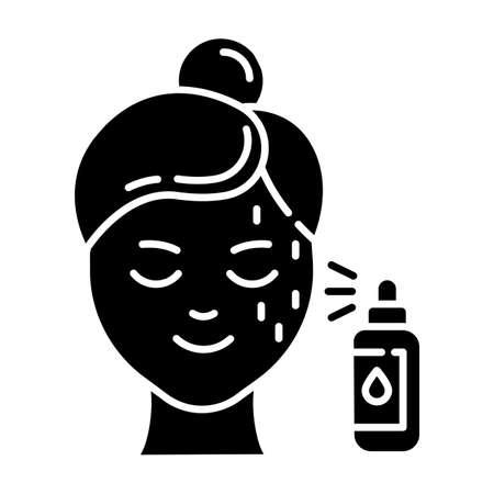 Symbol für Schönheitswasser-Glyphe. Hautpflegeverfahren. Schönheitsbehandlung im Gesicht. Sprühen Sie das Gesichtsprodukt in die Flasche, um es mit Feuchtigkeit zu versorgen. Kosmetik, Make-up. Silhouette-Symbol. Negativer Raum. Isolierte Vektorgrafik