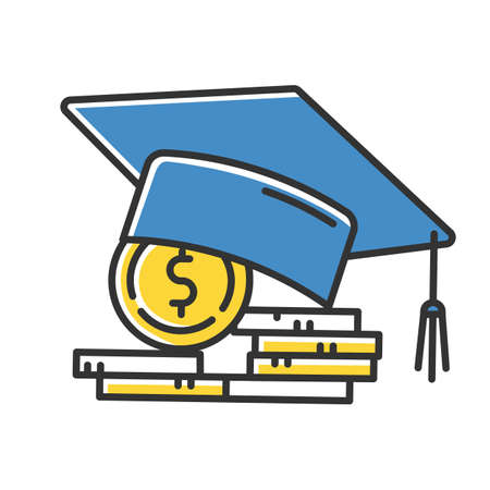 Student loan color icon. Credit to pay for university education. Tuition fee. College scolarship. Graduation hat, coin stack. Budget investment. Academic achievement. Isolated vector illustration