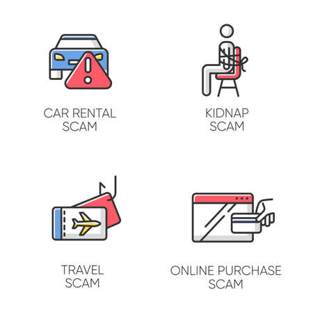 Scam types color icons set. Car rental, online purchase fraudulent scheme. Kidnap, travel trick. Cybercrime. Financial scamming. Illegal money gain. Isolated vector illustrations