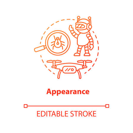 Appearance red concept icon. Robots and electronic devices idea thin line illustration. Modern gadgets, creations. Innovative design. Vector isolated outline drawing. Editable stroke