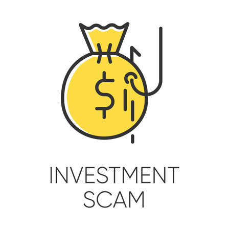 Investment scam color icon. Ponzi, pyramid scheme. Financial fraud. Illegal money gain. Fake promise of profit. Cybercrime. Phishing. Fraudulent activity. Isolated vector illustration Illustration