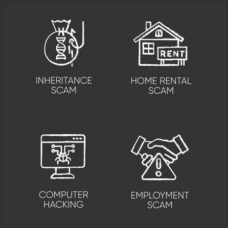 Scam types chalk icons set. Inheritance, home rental fraudulent scheme. Computer hacking. Employment scamming. Financial scamming. Illegal money gain. Isolated vector chalkboard illustrations