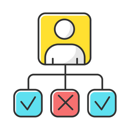 Personal profile color icon. Survey results. Data collection, info gathering. Answer review. Questionnaire report. Wiring options. Ticked checkboxes. Correct and wrong. Isolated vector illustration
