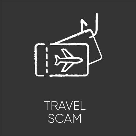 Travel scam chalk icon. Fake vacation ad. Unrealistic conditions. Free tickets trick. Cybercrime. Financial fraud. Malicious practice. Fraudulent scheme. Isolated vector chalkboard illustration