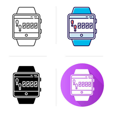 Steps tracking smartwatch function icon. Fitness wristband capability. Sport training, walking distance, leg based cardio exercise.Flat design, linear and color styles. Isolated vector illustrations