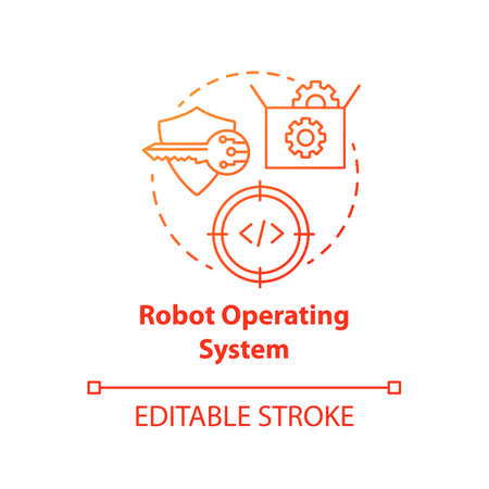 Robot operating system red concept icon. Robotics software idea thin line illustration. Information technologies and innovative programming. Vector isolated outline drawing. Editable stroke