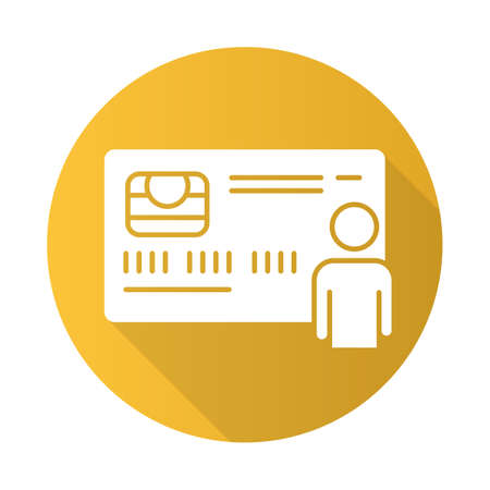 Personal credit card yellow flat design long shadow glyph icon. Purchase goods online. Pay without cash. Credit bank accout. Borrow, lend money. Open deposit. Vector silhouette illustration Vectores