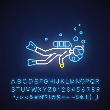 Scuba diving neon light icon. Watersport, extreme underwater kind of sport. Recreational outdoor activity. Snorkeling. Glowing sign with alphabet, numbers and symbols. Vector isolated illustration Ilustracja