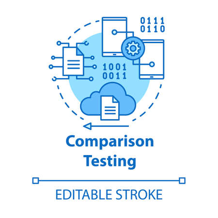 Comparison testing turquoise concept icon. Software development stage idea thin line illustration. Verify weakness and strength of IT project. Vector isolated outline drawing. Editable stroke