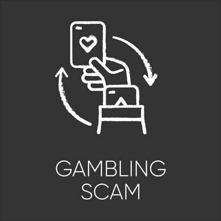 Gambling scam chalk icon. Money betting, risk taking. Cheating in casino. Hand holding card. Online fraud. Cybercrime. Malicious practice. Fraudulent scheme. Isolated vector chalkboard illustration