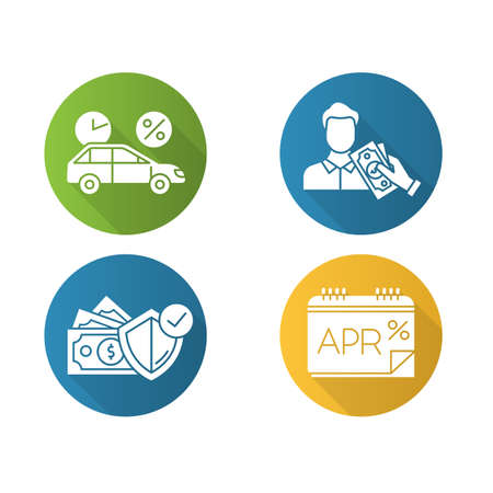 Loan flat design long shadow glyph icons set. Car credit with interest rate. Borrow, loan money. Pay for insurance. Annual percentage rate report. APR calculations. Vector silhouette illustration